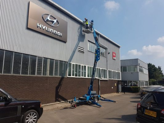 High access gutter cleaning and repairs on commercial building