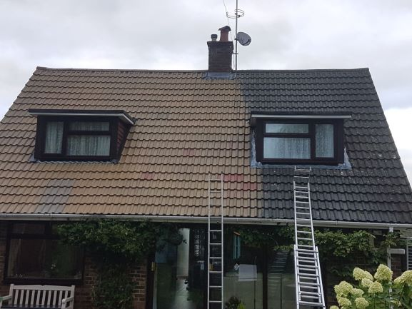 Before and after pressure washing roofing