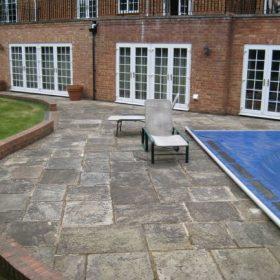 Poolside Patio Before Pressure Washing