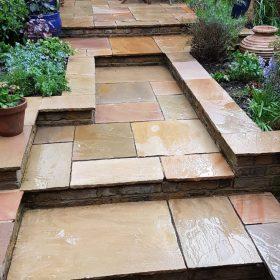 After pressure washing garden steps