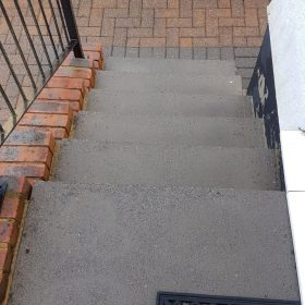 After pressure washing front house steps