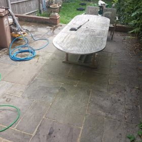 Before pressure washing garden furniture