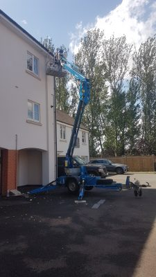 Paxtons Cherry Picker used for cleaning gutters
